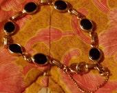 Vintage Gold Chain and Black Onyx Bracelet