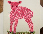 Little Pink Lamb, original linocut, applique, new baby card