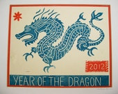 Year of the Dragon, original linocut print on bamboo paper