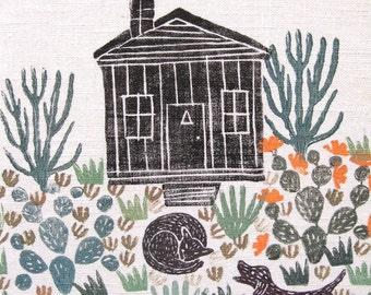Desert Cabin, Original Linocut Print, on Linen, Printmaking