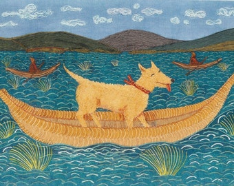 Inca Dog In Reed Boat, print from original textile collage