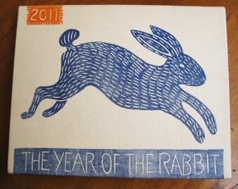 Year of The Rabbit, original linocut print on canvas