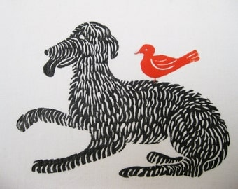 Bird Dog, original linoblock print on linen
