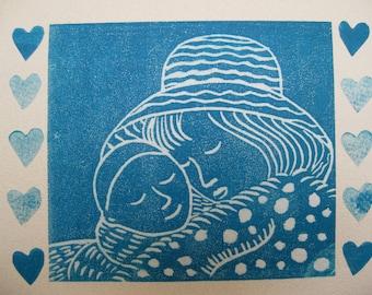 Mother love, original linocut card, printmaking