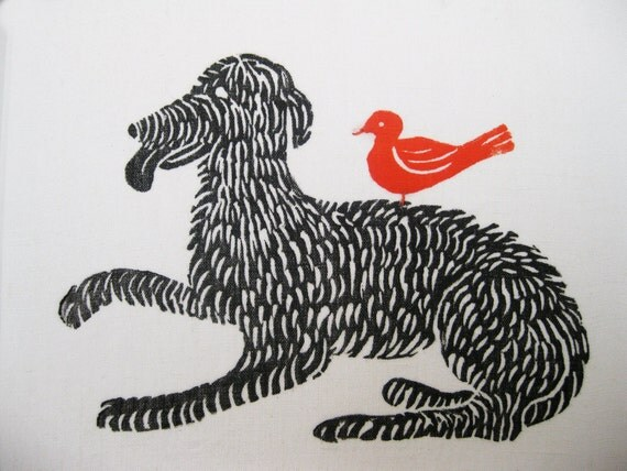 Bird Dog, original linoblock print on linen