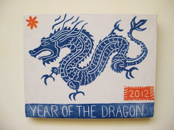 Year of The Dragon, linocut print on canvas