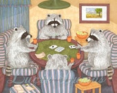 Art print 8x10 from funny painting Raccoon 16 playing cards, by Lucie Dumas
