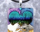 Art Glass Pendant 1x1 Jewelry Necklace from art painting Cat Mermaid 13 by L.Dumas