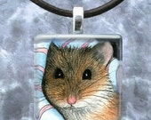 Art Glass Pendant 1x1 Jewelry Necklace from art painting Hamster 10 by L.Dumas