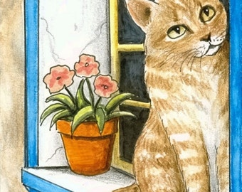ACEO art print Cat 303 tabby cat by Lucie Dumas
