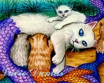 ACEO art print Cat Mermaid 17 fantasy by Lucie Dumas