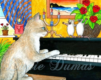 Art print 8x10 funny painting Cat 506 playing piano mouse by Lucie Dumas