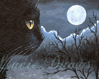 Art print 8x10 from painting black Cat 534 moon dark by Lucie Dumas