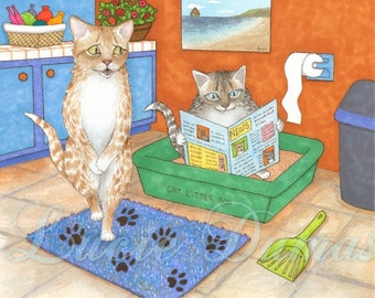 Art print 8x10 from funny bathroom art painting Cat 538 by Lucie Dumas