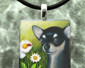 Art Glass Wood Pendant Jewelry Necklace from art painting Dog 79 black Chihuahua by L.Dumas