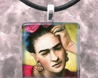 Art Glass Pendant 1x1 Jewelry Necklace from art painting Frida Kahlo 7 by L.Dumas