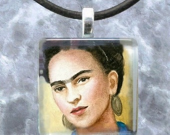 Art Glass Pendant 1x1 Jewelry Necklace from art painting Frida Kahlo 8 by L.Dumas