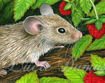 ACEO art print Mouse 10 from original painting by Lucie Dumas