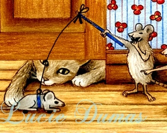 ACEO LE art print Cat 239 mouse from funny original painting by Lucie Dumas