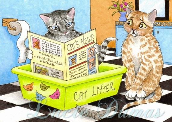 Art print 5x7 Cat 464, from funny ACEO painting by Lucie Dumas