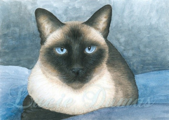 Art print 8x10 Cat 547 Siamese, painting by Lucie Dumas