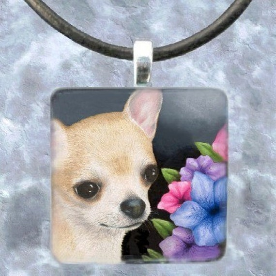 Art Glass Pendant 1x1 Jewelry Necklace from art painting Dog 86 Chihuahua by L.Dumas