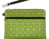 KINDLE KEEPER WRISTLET -  FOR NEW SMALLER KINDLE - TWO Zippered Compartments - DETACHABLE Wristlet