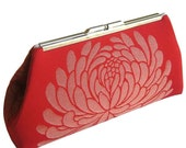 RED HOT  MODERN CLUTCH -  Shimmering  LOTUS Flower - SILK LINING