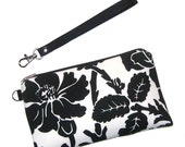 Black White Floral Wristlet / Padded Case with Detachable Strap