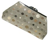 Clutch Purse by UPSTYLE - Taupe Black Silver Neutral - Small Size