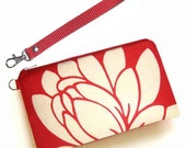 Wristlet Red Lotus Linen - Padded Case with Detachable Strap by UPSTYLE