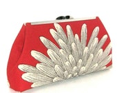 DAHLIA Modern Style Clutch - Soft Red Linen - Ivory Silk Lining