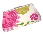 SPRING Flower Modern Clutch - Hot colors with Hummingbird - Pink Gingham Silk Lining