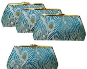 Four Bridesmaids Clutches - Teal Peacock Feather Fabric - Silk Lining  - FREE Custom Labels