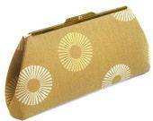 Gold Sun Rays Clutch Purse Handbag - Cream Silk Lining - Made to Order by UPSTYLE