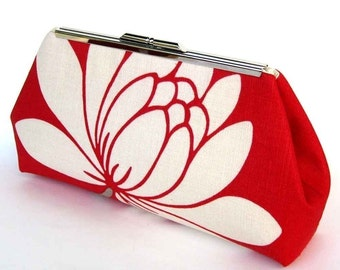 Red Bridesmaid Clutch, Gift for Bride, Mother of the Bride Purse, Glazed Red Linen Lotus Flower Handbag
