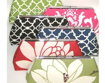 Bridesmaids Clutches Wedding Bridal - Colorful Mix - Set of 6 - FREE Custom Silk Labels