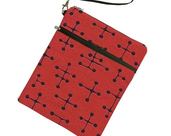 Eames iPad case cover pouch bag sleeve, PADDED with Zipper Pocket for iPhone, Red Eames Mid Century