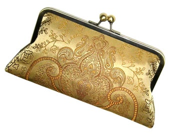 Gold Silk Clutch - Classic Damask Purse - Silk Lining
