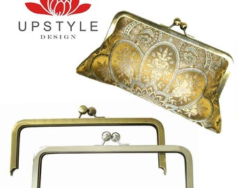 25 Clutch Purse Frames - 8 x 3 Classic Style - Nickel and/or Antique Brass - FREE Shipping to USA