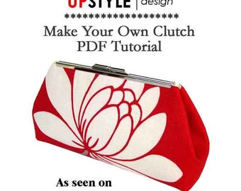 Modern Style Clutch - PDF Tutorial for Open Channel Purse Frames - As Seen on The Martha Stewart Show - Instant Download
