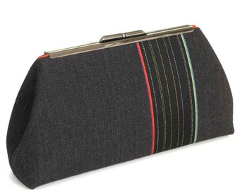 Gray Stripe Clutch Purse  /  Unique Fabric by Designer Paul Smith
