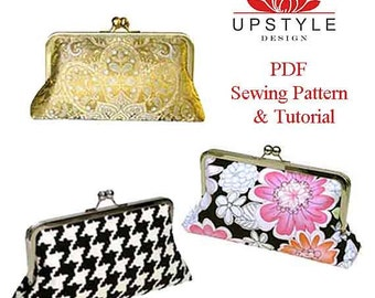 Digital Download PDF Sewing Pattern -  Classic Style Clutch Purse -  Pattern Detailed Instructions Color Photos by UPSTYLE