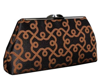 Black Brown Clutch Purse - Made to Order by UPSTYLE - Black Silk Lining
