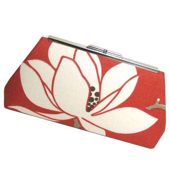 MODERN FLORAL CLUTCH - Coral Red Linen - IVORY SILK LINING