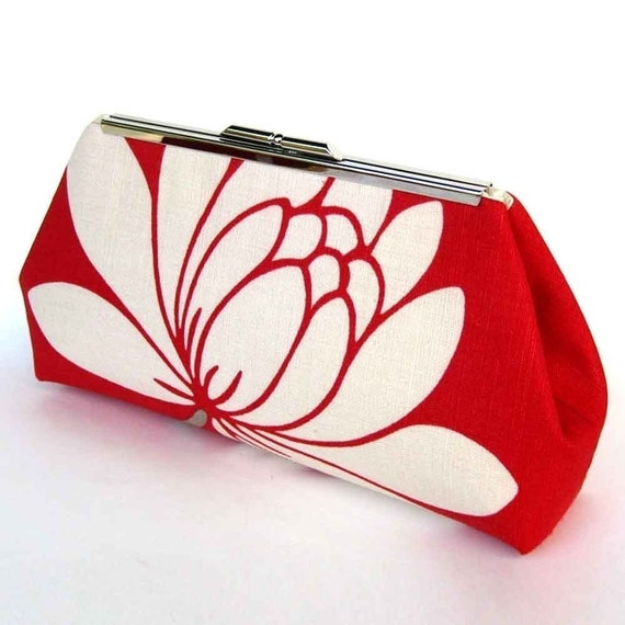 Bridesmaid Clutch Purse Red Lotus Flower Wedding Bridal