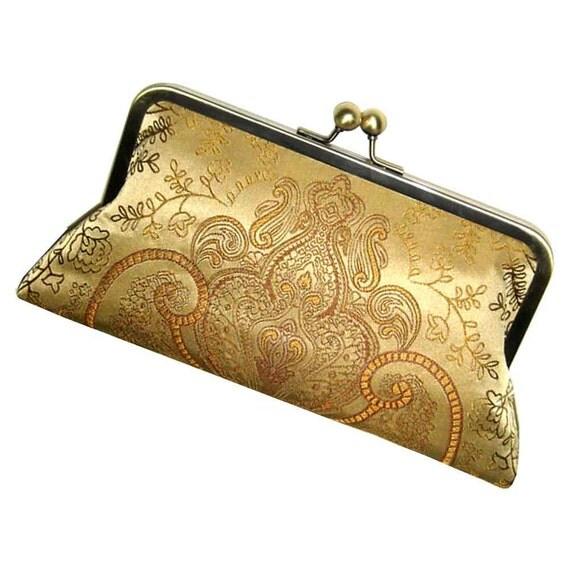 Gold Silk Clutch - Classic Damask Purse - Silk Lining