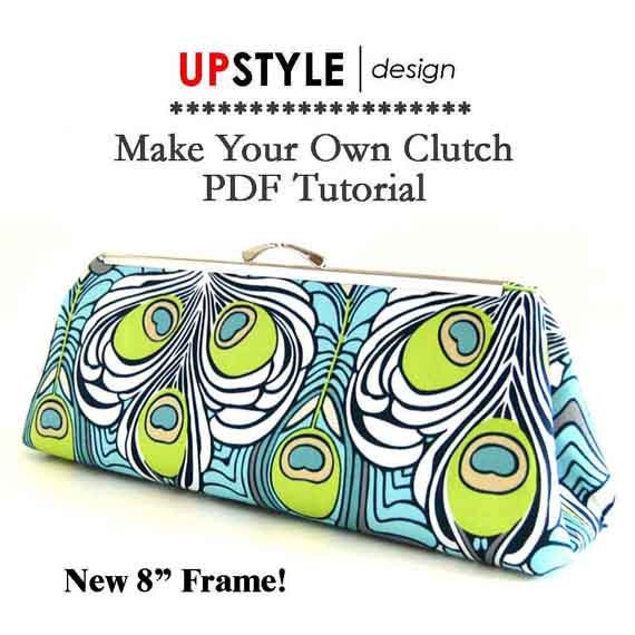 "PDF Sewing Pattern and Tutorial for 8"" Open Channel Clutch Purse Frame"