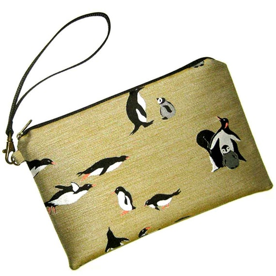 Kindle Fire Case Cover Sleeve Zipper Pouch with Detachable Wristlet Silk Penguins - Ready to Ship