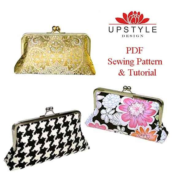 PDF Sewing Pattern -  Classic Style Clutch Purse -  Pattern Detailed Instructions Color Photos by UPSTYLE
